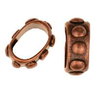 Regaliz Bumpy 10mm Oval Leather Cord Slider per 10 pieces - Antique Copper