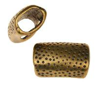 Regaliz Hammered Dots 10mm Oval Leather Cord Slider - Antique Brass