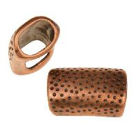 Regaliz Hammered Dots 10mm Oval Leather Cord Slider - Antique Copper