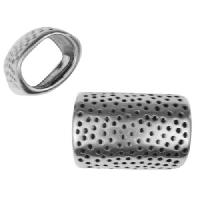 Regaliz Hammered Dots 10mm Oval Leather Cord Slider - Antique Silver