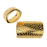 Regaliz Hammered Dots 10mm Oval Leather Cord Slider - Gold Plate
