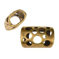 Regaliz Multi-Hole 10mm Oval Leather Cord Slider - Antique Brass