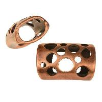 Regaliz Multi-Hole 10mm Oval Leather Cord Slider - Antique Copper