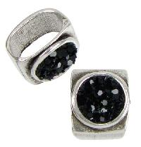 Regaliz Black Bling 10mm Oval Leather Cord Slider - Antique Silver