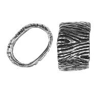 Regaliz Tree Bark 10mm Oval Leather Cord Slider per 10 pieces - Antique Silver