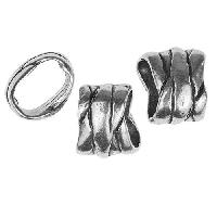Regaliz Ribbon Wrap 10mm Oval Leather Cord Slider per 10 pieces - Antique Silver