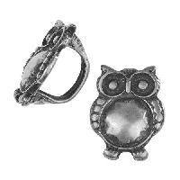 Regaliz Large Owl 10mm Oval Leather Cord Slider per 10 pieces - Antique Silver