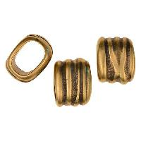 Regaliz Scrunch 10mm Oval Leather Cord Slider per 10 pieces - Antique Brass