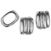 Regaliz Scrunch 10mm Oval Leather Cord Slider per 10 pieces - Antique Silver
