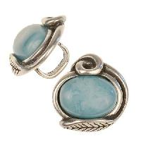 Regaliz Turquoise Resin Leaf 10mm Oval Leather Cord Slider - Antique Silver