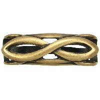 Regaliz Infinity 10mm Oval Leather Cord Slider - Antique Brass