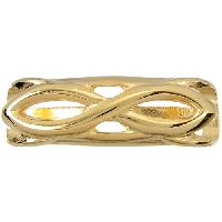 Regaliz Infinity 10mm Oval Leather Cord Slider - Gold Plated