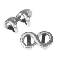 Regaliz Infinity 10mm Oval Leather Cord Slider per 10 pieces - Antique Silver
