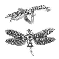 Regaliz Dragonfly 10mm Oval Leather Cord Slider - Antique Silver