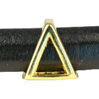 Regaliz Letter Greek DELTA 10mm Oval Leather Cord Slider - Gold Plate