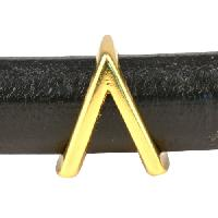 Regaliz Letter Greek LAMDA 10mm Oval Leather Cord Slider - Gold Plate