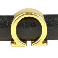Regaliz Letter Greek OMEGA 10mm Oval Leather Cord Slider - Gold Plate