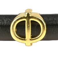 Regaliz Letter Greek PHI 10mm Oval Leather Cord Slider - Gold Plate