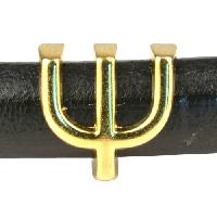 Regaliz Letter Greek PSI 10mm Oval Leather Cord Slider - Gold Plate