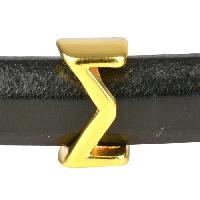 Regaliz Letter Greek SIGMA 10mm Oval Leather Cord Slider - Gold Plate