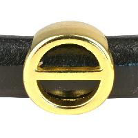Regaliz Letter Greek THETA 10mm Oval Leather Cord Slider - Gold Plate