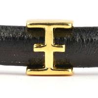 Regaliz Letter Greek XI 10mm Oval Leather Cord Slider - Gold Plate