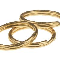 Keychain Hammered Split Ring - 25mm - Gold Plated