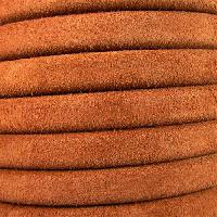 Regaliz Suede 10mm Leather Oval Cord - Camel - per inch