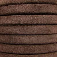 Regaliz Suede 10mm Leather Oval Cord - Brown - per inch