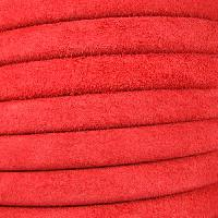 Regaliz Suede 10mm Leather Oval Cord - Red - per inch