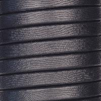 Regaliz Textured 10mm Oval Leather Cord - Black - per inch