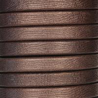 Regaliz Textured 10mm Oval Leather Cord - Brown - per inch