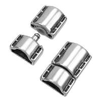 Mini Regaliz Stitched 10x4mm Oval Leather Cord Snap Clasp - Antique Silver