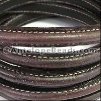 Mini Regaliz Stitched 10mm Oval Leather Cord - Dark Brown - per inch