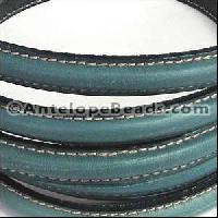 Mini Regaliz Stitched 10mm Oval Leather Cord - Blue Jeans - per inch