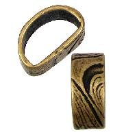 Mini Regaliz Thin Swirls 10x4mm Oval Leather Cord Slider - Antique Brass
