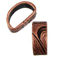 Mini Regaliz Thin Swirls 10x4mm Oval Leather Cord Slider - Antique Copper