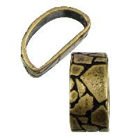 Mini Regaliz Thin Mosaic 10x4mm Oval Leather Cord Slider - Antique Brass