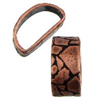 Mini Regaliz Thin Mosaic 10x4mm Oval Leather Cord Slider - Antique Copper
