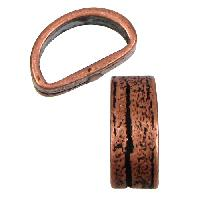 Mini Regaliz Thin Bark 10x4mm Oval Leather Cord Slider - Antique Copper