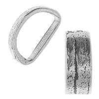 Mini Regaliz Thin Bark 10x4mm Oval Leather Cord Slider - Antique Silver