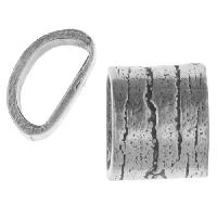 Mini Regaliz Wide Bark Large 10x4mm Oval Leather Cord Slider - Antique Silver