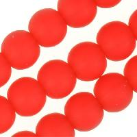 Cultured Sea Glass Bead Round 4mm - Cherry Red