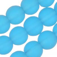 Cultured Sea Glass Bead Round 6mm - Pacific Blue