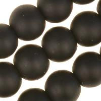 Cultured Sea Glass Bead Round 8mm - Jet Black