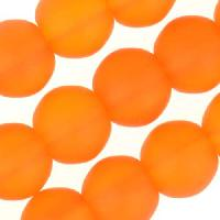 Cultured Sea Glass Bead Round 8mm - Tangerine