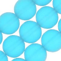 Cultured Sea Glass Bead Round 10mm - Pacific Blue