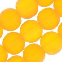 Cultured Sea Glass Bead Round 10mm - Saffron Yellow