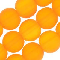 Cultured Sea Glass Bead Round 10mm - Saffron Yellow DARK