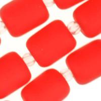 Cultured Sea Glass Bead Nugget Barrel 10x8mm - Cherry Red